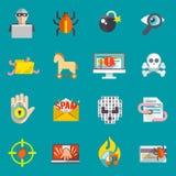 Επίπεδο σύνολο εικονιδίων χάκερ Στοκ Εικόνα