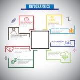 Επίπεδο σύνολο εικονιδίων infographics γραμμών διαχείρισης - διάνυσμα έννοιας διανυσματική απεικόνιση