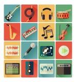 Επίπεδο σύνολο μουσικής εικονιδίων Στοκ Φωτογραφίες