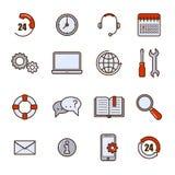 Επίπεδο σύνολο περιλήψεων βοήθειας και υποστήριξης Τηλεφωνικών βοηθητικό υπηρεσιών και τηλεαγοράς τεχνικής και βοήθειας πελατών δ Στοκ Εικόνα