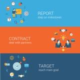 Επίπεδο σύνολο προτύπων εμβλημάτων εικονιδίων έννοιας επιχειρησιακού μάρκετινγκ Στοκ Εικόνα