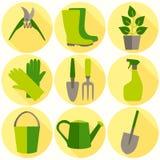 Επίπεδο σύνολο σχεδίου εικονιδίων εργαλείων κηπουρικής που απομονώνονται Στοκ εικόνα με δικαίωμα ελεύθερης χρήσης