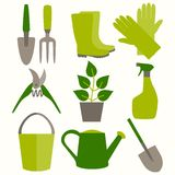 Επίπεδο σύνολο σχεδίου εικονιδίων εργαλείων κηπουρικής Στοκ Φωτογραφία