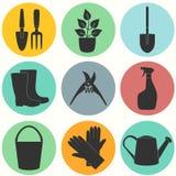 Επίπεδο σύνολο σχεδίου εικονιδίων εργαλείων κηπουρικής Στοκ εικόνα με δικαίωμα ελεύθερης χρήσης