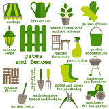 Επίπεδο σύνολο σχεδίου εικονιδίων εργαλείων κηπουρικής Στοκ φωτογραφίες με δικαίωμα ελεύθερης χρήσης