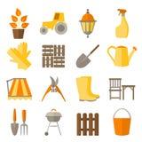 Επίπεδο σύνολο σχεδίου εικονιδίων εργαλείων κηπουρικής Στοκ Εικόνα