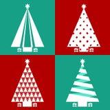 Επίπεδο σύνολο σχεδίου χριστουγεννιάτικων δέντρων Στοκ Φωτογραφίες