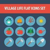 Επίπεδο σύνολο του χωριού ζωής εικονιδίων Στοκ φωτογραφία με δικαίωμα ελεύθερης χρήσης