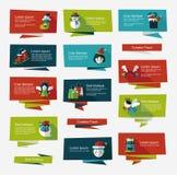 Επίπεδο σύνολο υποβάθρου εμβλημάτων Χριστουγέννων, eps10 Στοκ Εικόνες