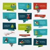 Επίπεδο σύνολο υποβάθρου εμβλημάτων Χριστουγέννων, eps10 Στοκ Φωτογραφίες