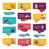 Επίπεδο σύνολο υποβάθρου εμβλημάτων Χριστουγέννων, eps10 Στοκ Εικόνα
