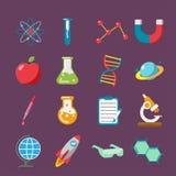 Επίπεδο σύνολο χρώματος εικονιδίων επιστήμης Στοκ εικόνες με δικαίωμα ελεύθερης χρήσης