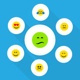 Επίπεδο σύνολο Emoji εικονιδίων αγάπης, συνοφρυώματος, χαμόγελου και άλλων διανυσματικών αντικειμένων Επίσης περιλαμβάνει ζαλισμέ Στοκ Εικόνες