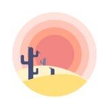 Επίπεδο τοπίο ηλιοβασιλέματος ερήμων κινούμενων σχεδίων με τη σκιαγραφία κάκτων στον κύκλο στοκ εικόνα