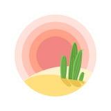 Επίπεδο τοπίο ηλιοβασιλέματος ερήμων κινούμενων σχεδίων με τον κάκτο στον κύκλο στοκ φωτογραφία με δικαίωμα ελεύθερης χρήσης
