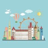 Επίπεδο τοπίο πόλεων σχεδίου επίσης corel σύρετε το διάνυσμα απεικόνισης Στοκ Εικόνα