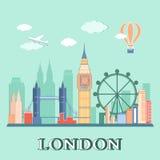Επίπεδο τοπίο πόλεων του Λονδίνου σχεδίου επίσης corel σύρετε το διάνυσμα απεικόνισης Στοκ Εικόνες