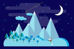 Επίπεδο τοπίο χειμερινής νύχτας Στοκ Εικόνες