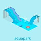 Επίπεδο τρισδιάστατο isometric καλοκαίρι aquapark ελεύθερη απεικόνιση δικαιώματος