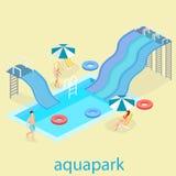 Επίπεδο τρισδιάστατο isometric καλοκαίρι aquapark διανυσματική απεικόνιση