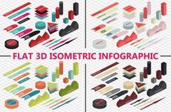 Επίπεδο τρισδιάστατο isometric infographic σύνολο Στοκ Φωτογραφίες