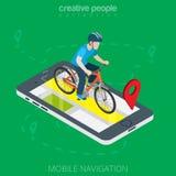 Επίπεδο τρισδιάστατο smartphone ποδηλατών isometricmale on-line Στοκ εικόνα με δικαίωμα ελεύθερης χρήσης