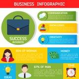 Επίπεδο υπόβαθρο επιχειρησιακού Infographic Στοκ Εικόνα