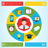 Επίπεδο υπόβαθρο επιχειρησιακού Infographic Στοκ Εικόνες
