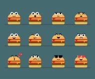 Επίπεδο χαριτωμένο Cheeseburger Emoticon σύνολο απεικόνιση αποθεμάτων