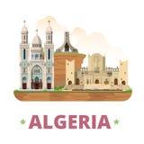 Επίπεδο ύφος κινούμενων σχεδίων προτύπων σχεδίου χωρών της Αλγερίας απεικόνιση αποθεμάτων