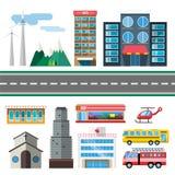 Επίπεδο ύφος κτηρίων και μεταφορών πόλεων Στοκ εικόνες με δικαίωμα ελεύθερης χρήσης