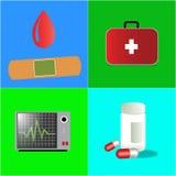 Επίπεδο ύφος με την υγειονομική περίθαλψη και την ιατρική Στοκ φωτογραφία με δικαίωμα ελεύθερης χρήσης