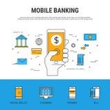 Επίπεδο ύφος σχεδίου γραμμών Κινητή τραπεζική έννοια διανυσματική απεικόνιση