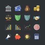 Επίπεδο ύφος χρώματος οικονομικό & εικονίδια επένδυσης καθορισμένα Στοκ Εικόνες