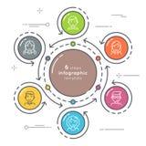 Επίπεδο ύφος 36 infographic πρότυπο κύκλων βημάτων Λεπτή γραμμή Στοκ Εικόνα
