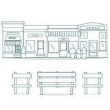 Επίπεδο bistro εστιατορίων καφέδων ύφους παπούτσια και καφές λίγης μικροσκοπικά καταστημάτων εικονιδίων καθορισμένα αγοράς τροφίμ Στοκ εικόνα με δικαίωμα ελεύθερης χρήσης