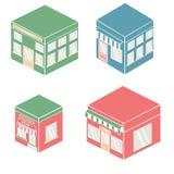 Επίπεδο bistro εστιατορίων καφέδων ύφους παπούτσια και καφές λίγης μικροσκοπικά καταστημάτων εικονιδίων καθορισμένα αγοράς τροφίμ Στοκ Εικόνα