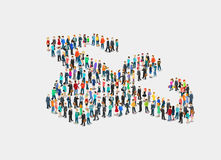 Επίπεδο isometric πλήθος του διανύσματος ανθρώπων τρισδιάστατη κοινωνία απεικόνιση αποθεμάτων