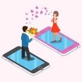 Επίπεδο isometric τρισδιάστατο εικονικό smartphone ημερομηνίας ζευγών αγάπης Στοκ Εικόνα