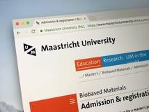 Επίσημη αρχική σελίδα του πανεπιστημίου του Μάαστριχτ στοκ εικόνες