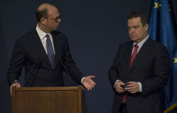 Επίσημη επίσκεψη του ιταλικού ξένου Υπουργού Angelino Alfano στη Σερβία Στοκ Εικόνες