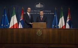 Επίσημη επίσκεψη του ιταλικού ξένου Υπουργού Angelino Alfano στη Σερβία Στοκ Φωτογραφίες