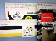 Επίσημοι ιστοχώροι του τρεις σημαντικές ευρωπαϊκές σκηνικές φυλές ανακύκλωσης: Γύρος de Γαλλία, Giro δ ` Ιταλία και Vuelta ένα Es στοκ εικόνες