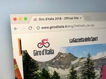 Επίσημος ιστοχώρος του γύρου της Ιταλίας ή Giro δ ` Ιταλία Στοκ φωτογραφία με δικαίωμα ελεύθερης χρήσης