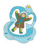 επίσης corel σύρετε το διάνυσμα απεικόνισης Επίπεδη απεικόνιση Άγγελος κοριτσιών και χιονιού Χειμώνας απεικόνιση αποθεμάτων