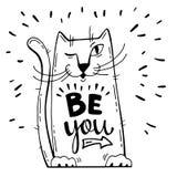 επίσης corel σύρετε το διάνυσμα απεικόνισης Θετική κάρτα με τη γάτα κινούμενων σχεδίων Οι λέξεις καλλιγραφίας είναι εσείς Έχετε τ Στοκ Εικόνα