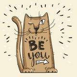 επίσης corel σύρετε το διάνυσμα απεικόνισης Θετική κάρτα με τη γάτα κινούμενων σχεδίων Οι λέξεις καλλιγραφίας είναι εσείς Έχετε τ Στοκ φωτογραφίες με δικαίωμα ελεύθερης χρήσης