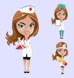 επίσης corel σύρετε το διάνυσμα απεικόνισης Το σύνολο γιατρών ή νοσοκόμας σε διαφορετικό θέτει Στοκ Φωτογραφία