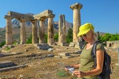 Επίσκεψη αρχαίο Corinth Στοκ Φωτογραφία