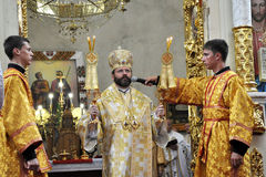 Επίσκεψη στην εκκλησία Sviatoslav Shevchuk_14 κεφαλαίου Chortkiv Στοκ φωτογραφίες με δικαίωμα ελεύθερης χρήσης